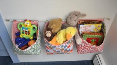 Tutorial – Hanging Fabric Storage Baskets